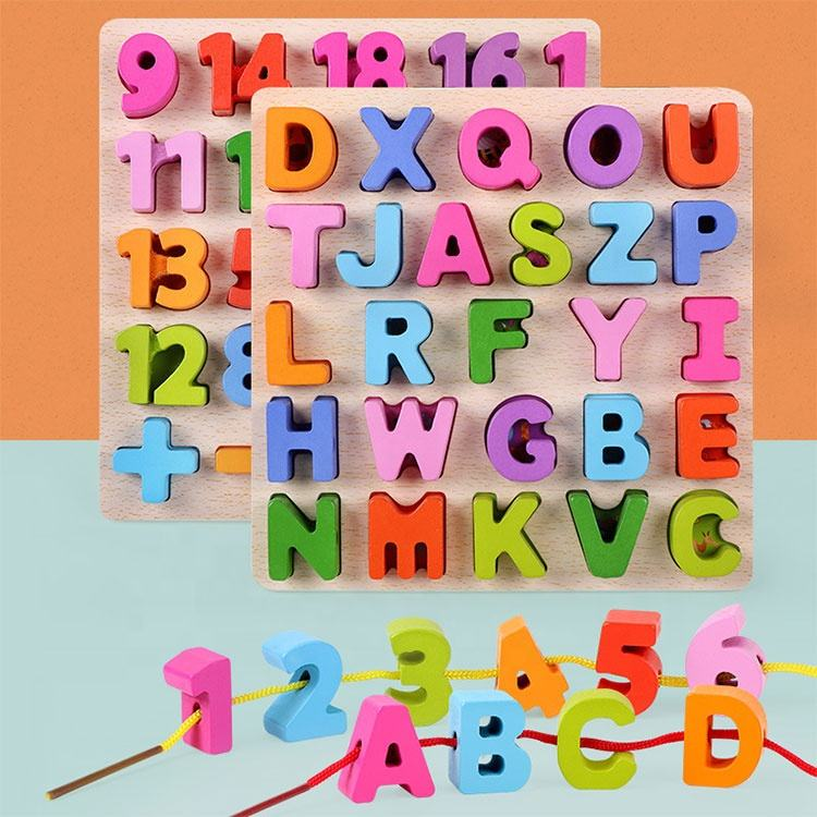 Multifunction educational colorful letter number threading toy wooden alphabet puzzles for toddlers