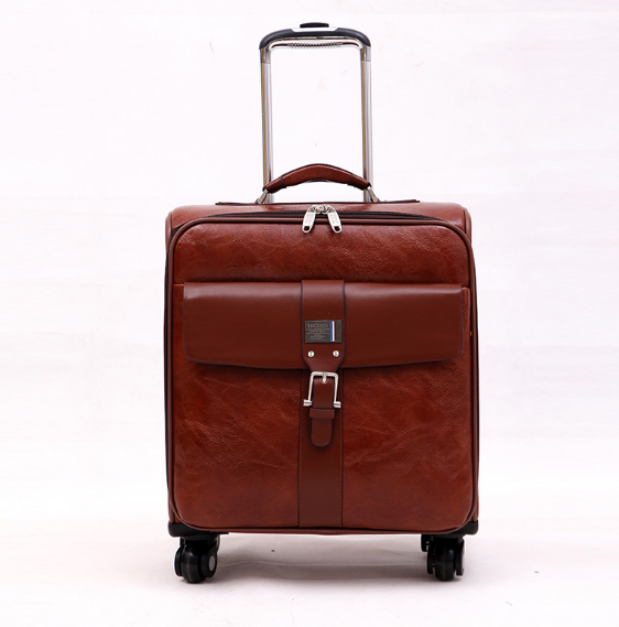 spinner Casual Genuine Leather Carry-on Business leather luggage Suitcase Luggage