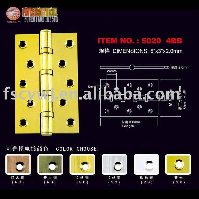 gold plated 5 inches furniture ball bearing steel hinge