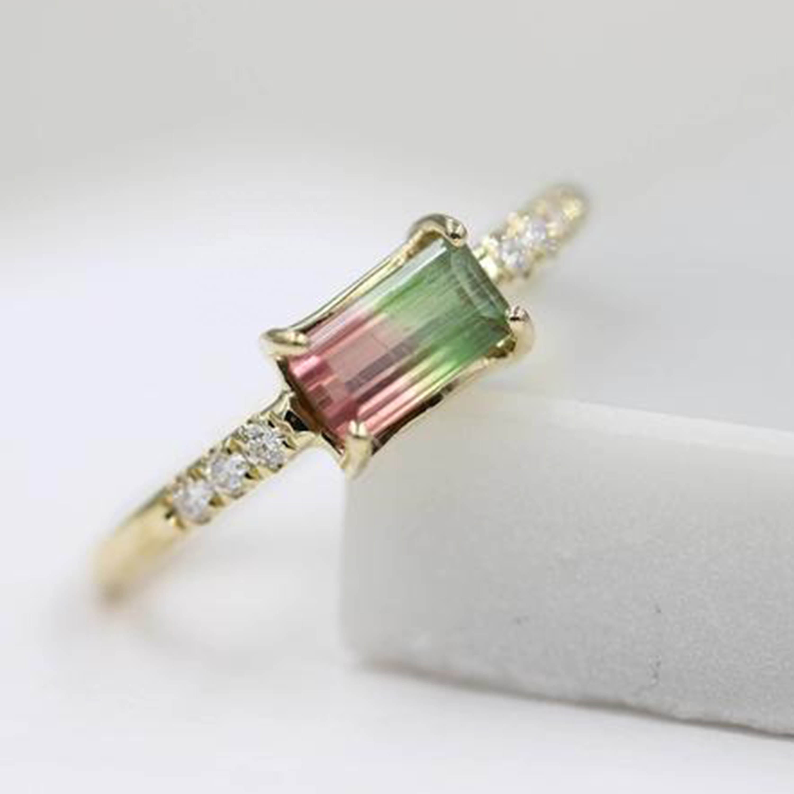 925 sterling silver Emerald Cut Prong Set 14k gold ring watermelon tourmaline ring