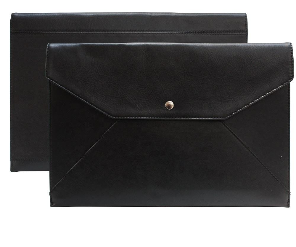 Black Leather Valise Case PU leather Envelope Clutch bag wholesale gift