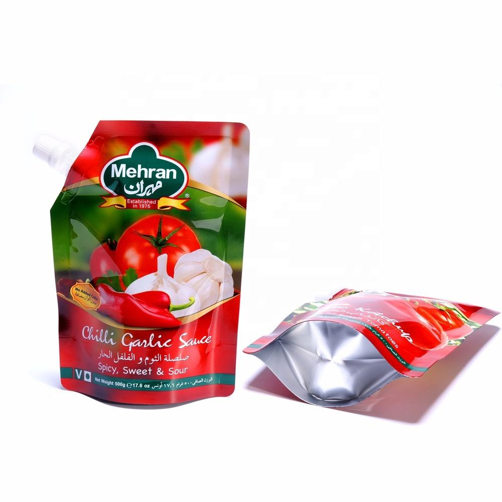 Food Grade Liquid Plastic Aluminum Foil Pouch With Ketchup Spout Bag Tomato Sauce Packaging