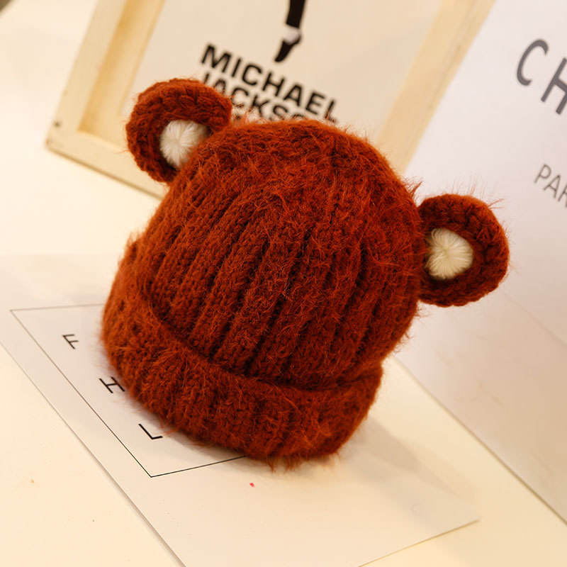 Hot Selling Solid Color Ear Wool Cap Warm Knitted Sweater Cap