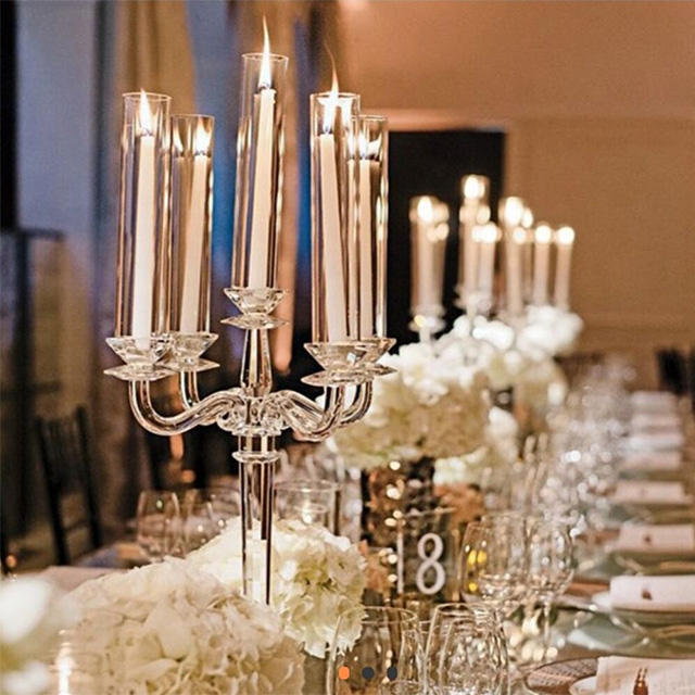 2019 Wholesale Candles Holder 5 Arms Wedding Centerpieces Crystal Candelabra