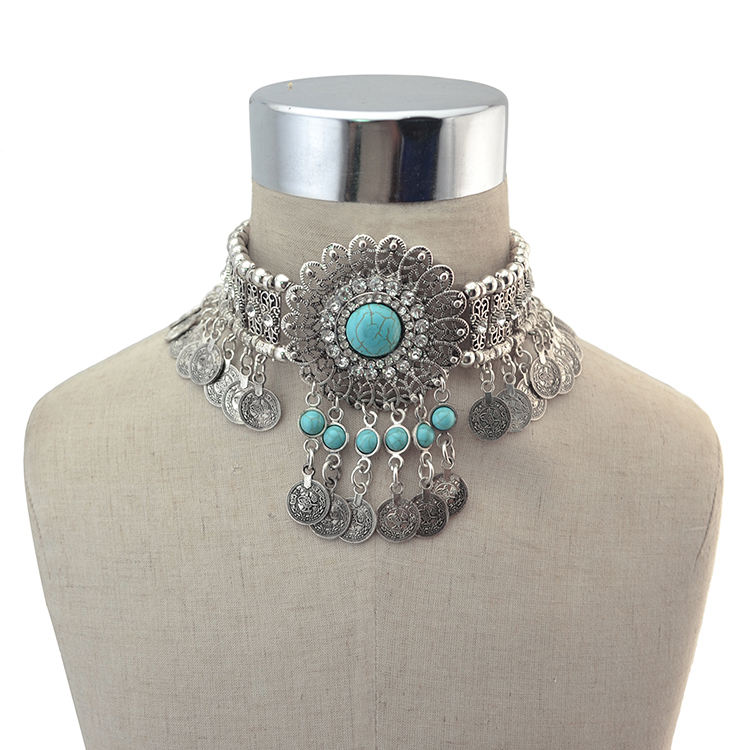 Vintage Silver Metal Statement Necklace Rhinestone Flower Coin Jewelry Choker Necklace