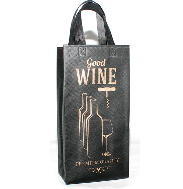 Wine Tote Bags Non-Woven Double Bottle Wine Totes, Reusable Wine Carrying Bags, Ideal Bottle Gift Bags for Wedding