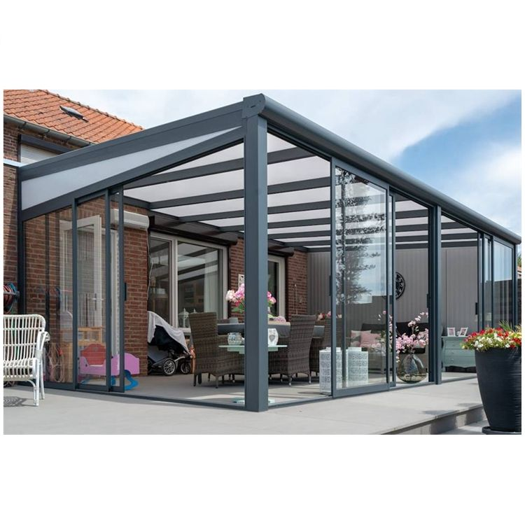 European All seasons Glass roof Aluminum Veranda Alu Veranda with sliding door