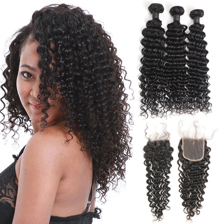 Free Shipping Peruvian Deep Wave Bundles Human Hair Extensions, Shop Online 3 Bundles Natural Color Hair Weave With Closure