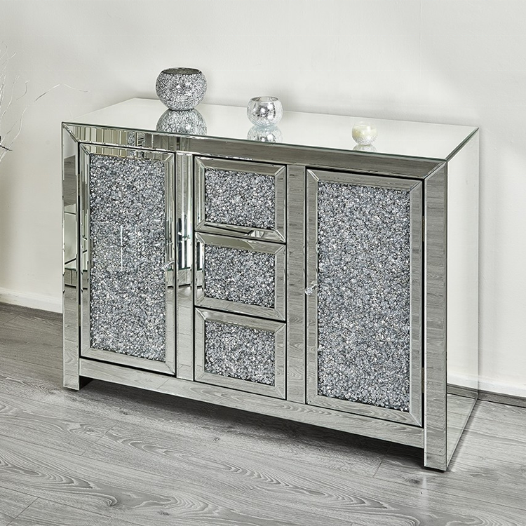 Diamond Crushed Mirrored Home Living Room Furniture Silver Sideboard Cabinet