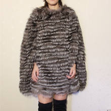 Hot Sale Warm Women Genuine Raccoon Fur Cape Cloak Real Animal Fur Coat