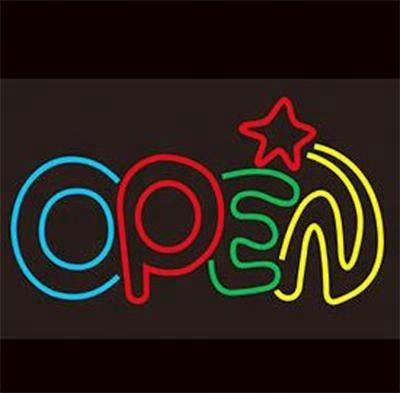Attractive lighted Open design flash shining led neon sign for shop