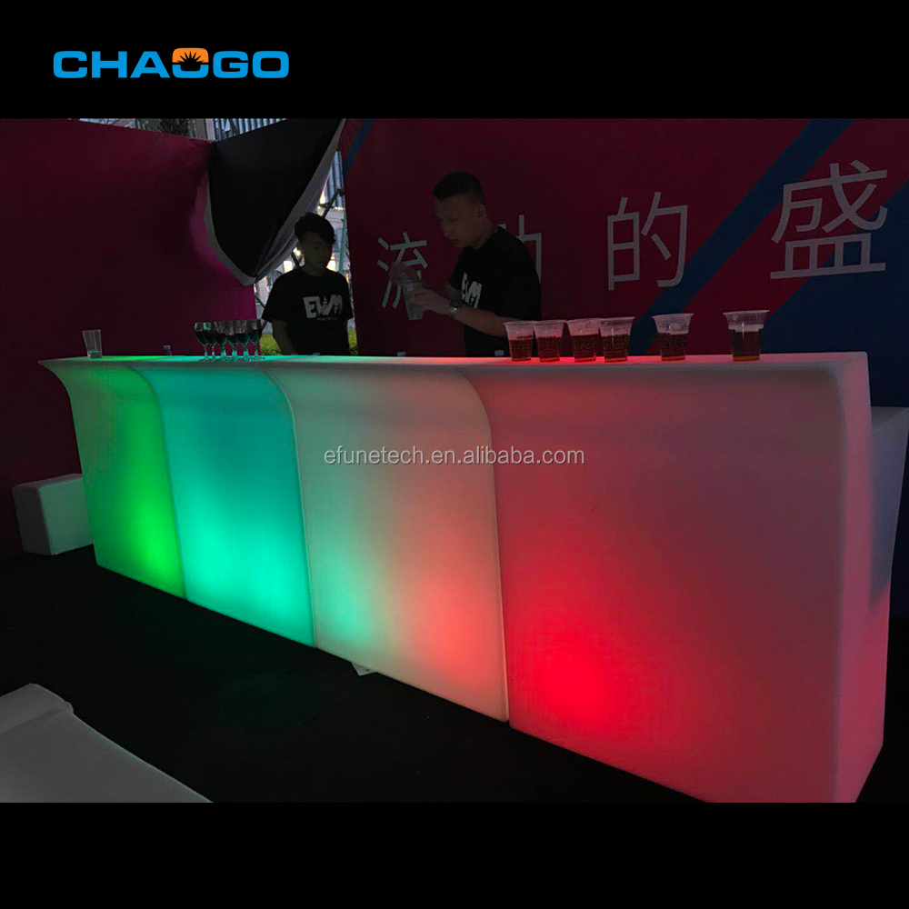 rgb color changing outdoor illuminated glow led mobile bar plastic led bar counter portable bar counter