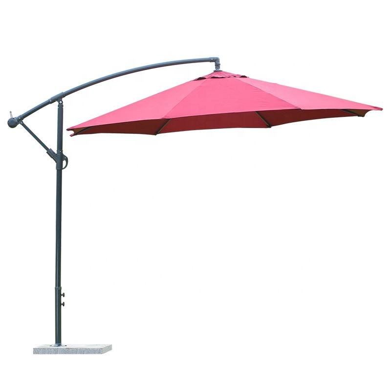outdoor hanging banana umbrella waterproof cantilever garden beach patio sun canvas parasol iron restaurant umbrella
