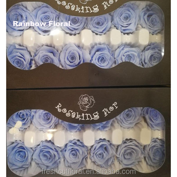 colorful preserved rose flower 3-4cm diameter 12 head in one box made by natural real fresh roses