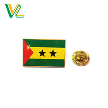 Customized high quality Die casting Sao Tome and Principe National Flags for Decoration enamel  Lapel Pins Box