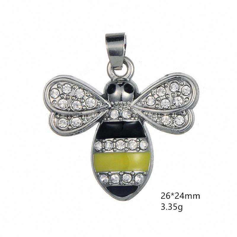 Hot Sale Animal Jewelry Pendant Embedded with Crystal Bee Charm for Bracelet Necklace Making 5pcs