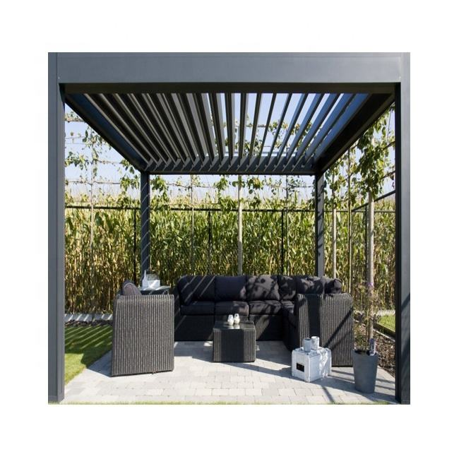 Modern Waterproof Patio Aluminium Motorized Louvered Roof Pergola Gazebo Bioclimatique Outdoor Kits