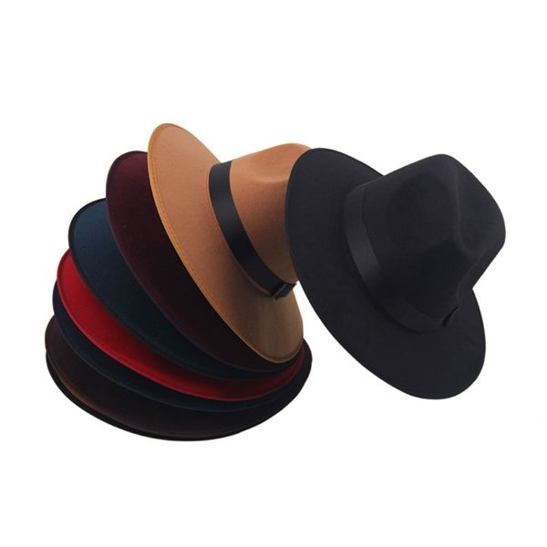 Retro Women Wide Brim Ribbon Warm Wool Blend Felt Hat Bowler Trilby Fedora Hat