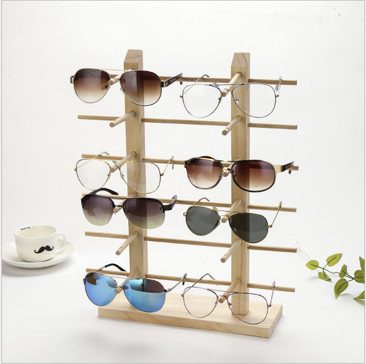 2019 Natural Wood sunglasses counter display rack holding 12 pairs sunglass