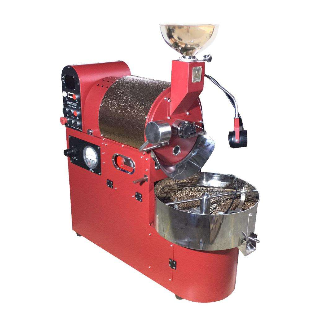 Chinese best coffee roaster santoker coffee roasters 3kg gas with double layer carbon steel shaftless drum