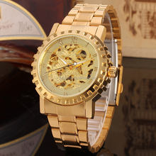 China Luxury Design Gold Watch Men New Skeleton Automatic Wholesale Import Wrist Watches