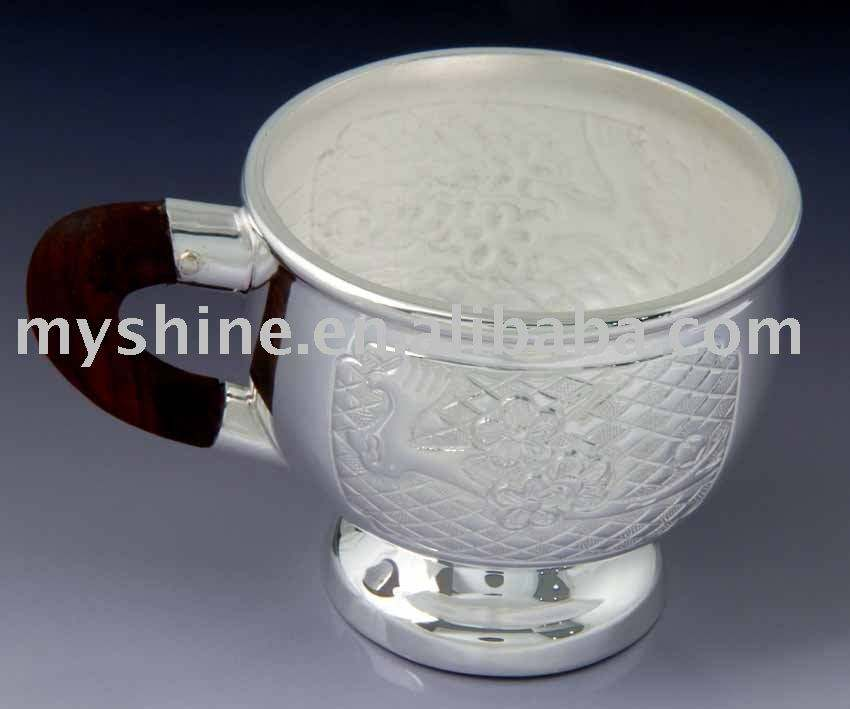 MYSHINE fashion classical style silver tea cup silver crafts silverware