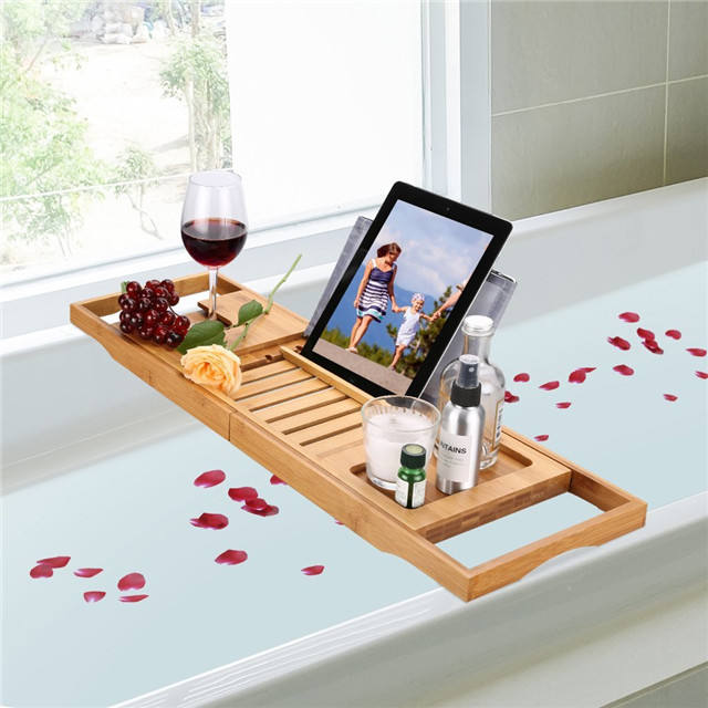 bamboo bathtub caddy tray with deeper phone holder