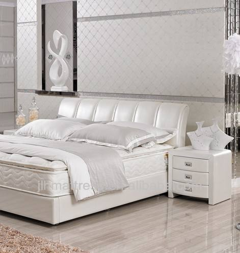 Cheaper white leather bed with good quality