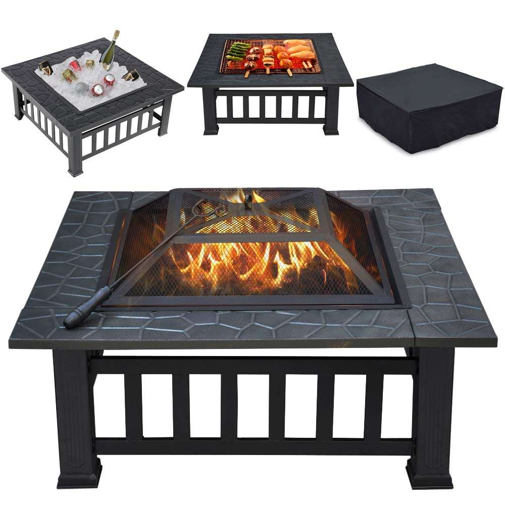 32inch Outdoor Wood Burning Squrae Table Fire Pit with Spark Screen