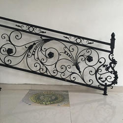 New style handmade forging cast iron stair handrail for home