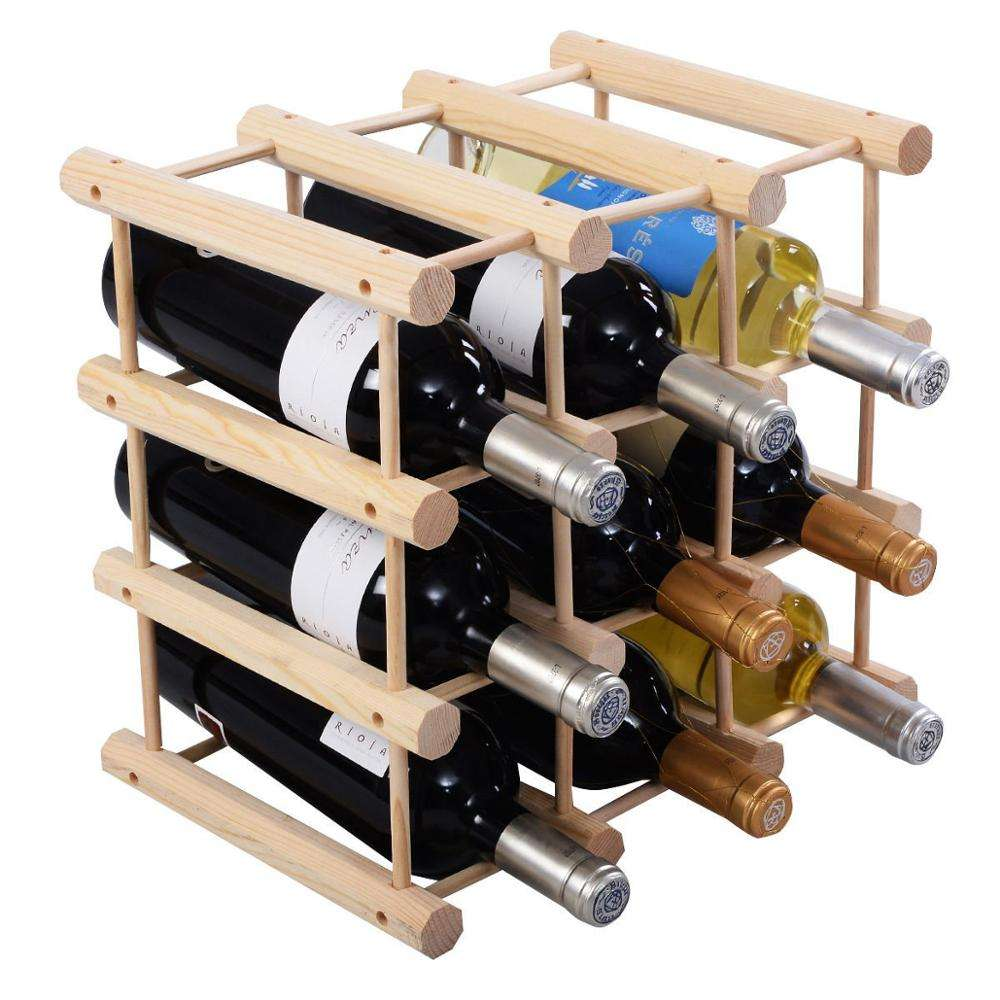 Bamboo Wine Rack Bottle Holder Storage-12 bottles,for kitchen
