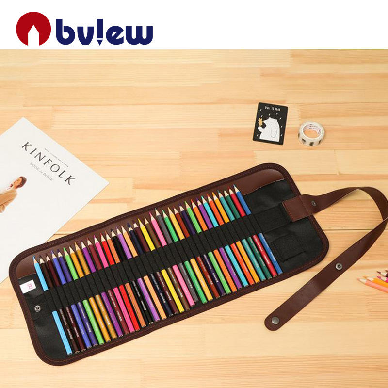 High quality 36 colors artist water color pencil in black Roll-up Bag