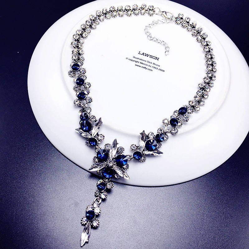 Luxury High Quality European Wedding Party Cubic Zircon Necklace Jewelry Blue White Ice Crystal Flower Sweater Necklace