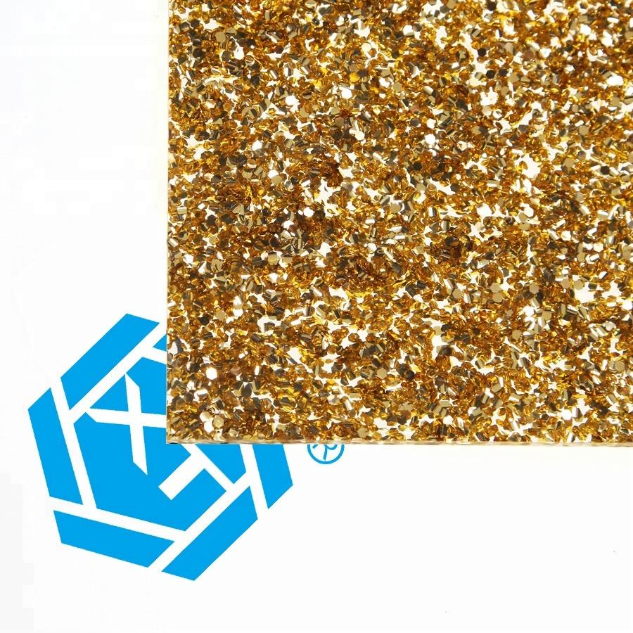 XINTAO Hot Selling Products 2mm 3mm Gold Cast Glitter Acrylic Sheet