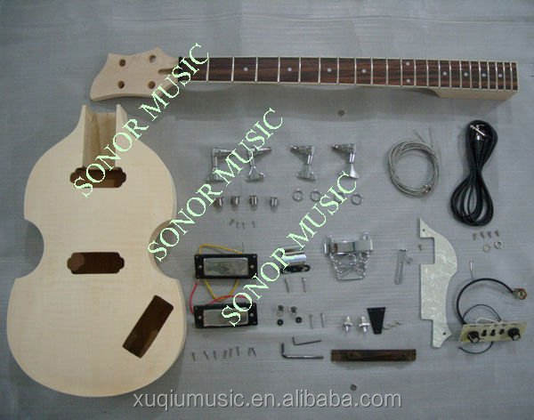 Unfinished Hofner Bass Guitar Body / DIY Violin Electric Bass Kits for Sale