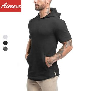 Men Sportswear Gym Wear Fitness Short Sleeve Hoodie