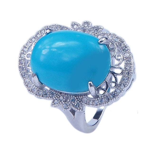 Fashion Blue Topaz turquoise 925 Sterling silver gemstone rings