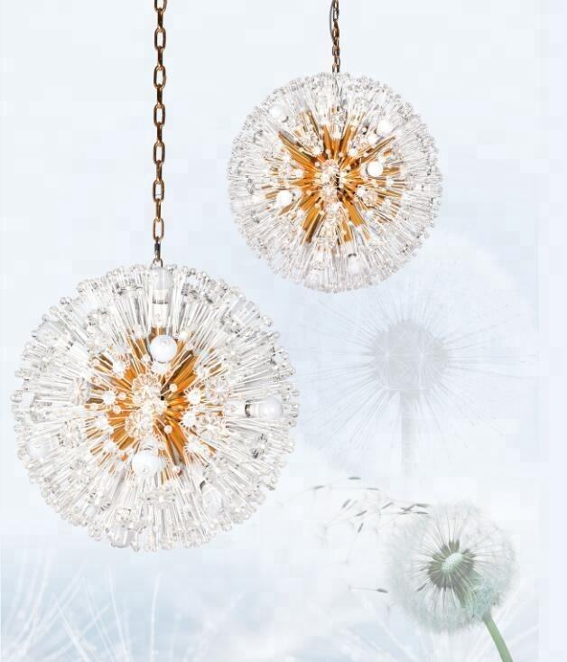 Dandelion shape Design Round Pineapple Bead Crystal Chandelier Pendant Light for Restaurant Decor Chain Chandelier
