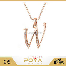 POYA Jewelry S925 Sterling Silver CZ Initial Charm Pendant Necklace