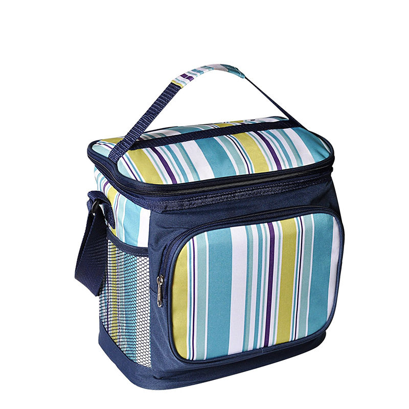 Medium Water Resistant Polyester Insulated Picnic Tote Lunch Bag Ice Cooler Bag With Adjustable Shoulder Strap