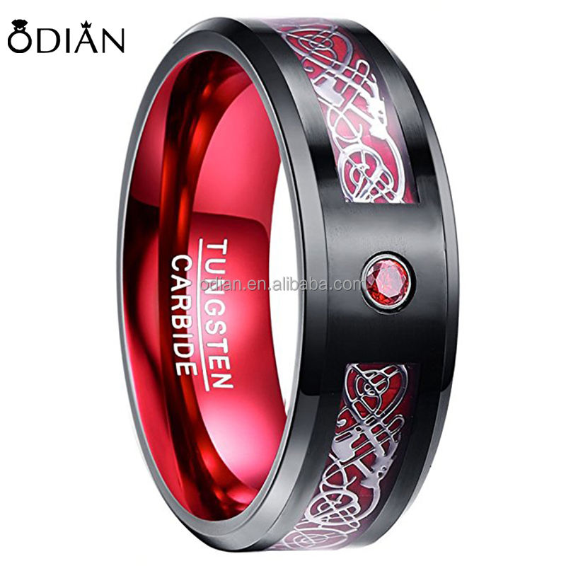 Red Tungsten Carbide Wedding Band Ring for Men 8mm Celtic Dragon Red Carbon Fiber ring Size 7 to 12