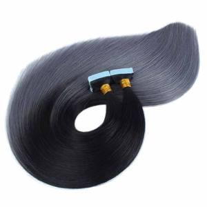 12A Indian Remy Human Hair Double Drawn Straight Natural Color Tape In Hair Extensions