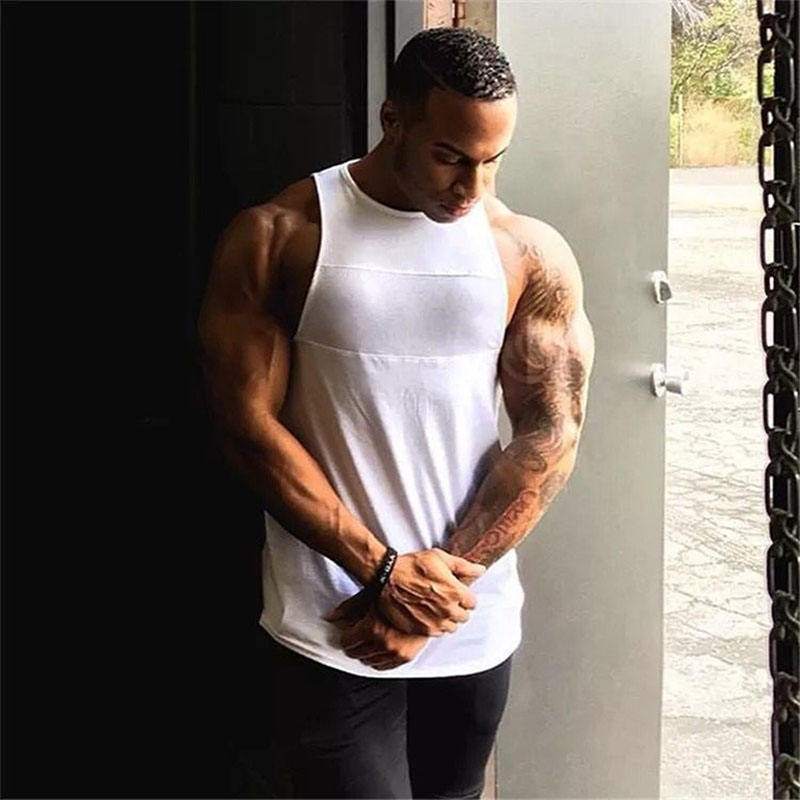 New arrival high quality custom made print logo no brand plain sport muscle gym tank top men
