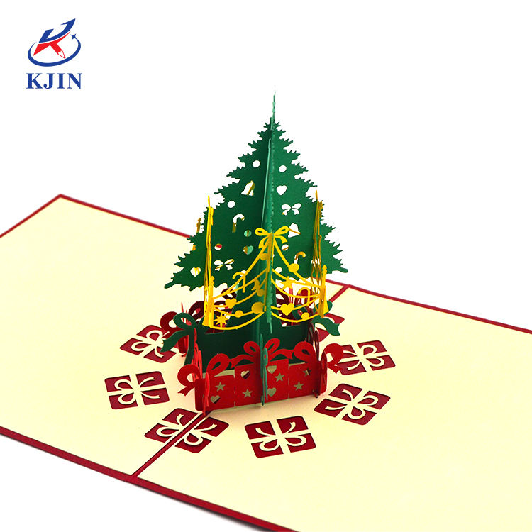 2021 creativo 3d di natale tress logo personalizzato di carta pop up carta regalo biglietto di auguri Stereoscopico carving Merry christmas card