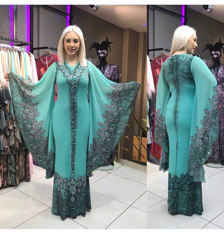 plus size islamic clothing muslim kaftan abaya burqa fashion design Slim v-neck digital print indonesia kaftan dress formal wear