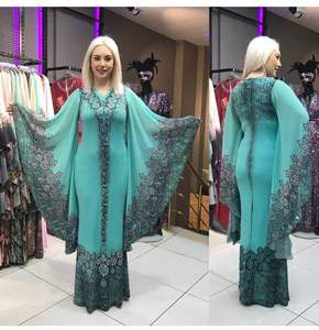 plus size islamic clothing muslim kaftan abaya burqa fashion design Slim v-neck digital print indonesia kaftan dress formal wear