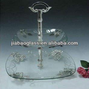 متعددة تصميم ساحة طبقة مزدوجة الزجاج واضح زجاج بلايت مع الفضة مطلي تصميم