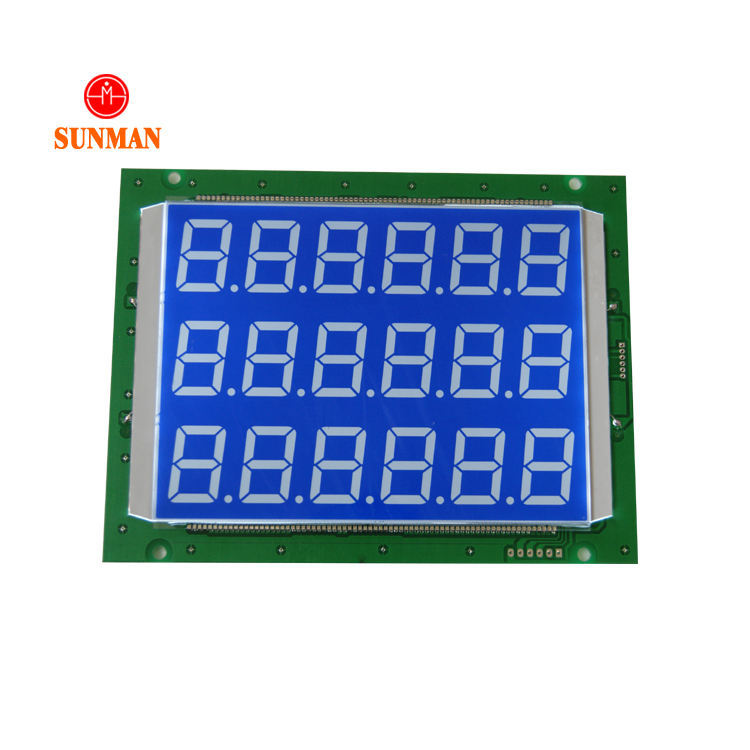 18 Digit Dispenser Bahan Bakar 7 Segmen Numerik Besar Besar TN LCD Display