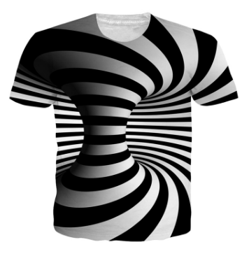 Poresmax Brand T shirt 3D Men Women Fashion Print Black White Vertigo Hypnotic funny Camiseta Manga Corta