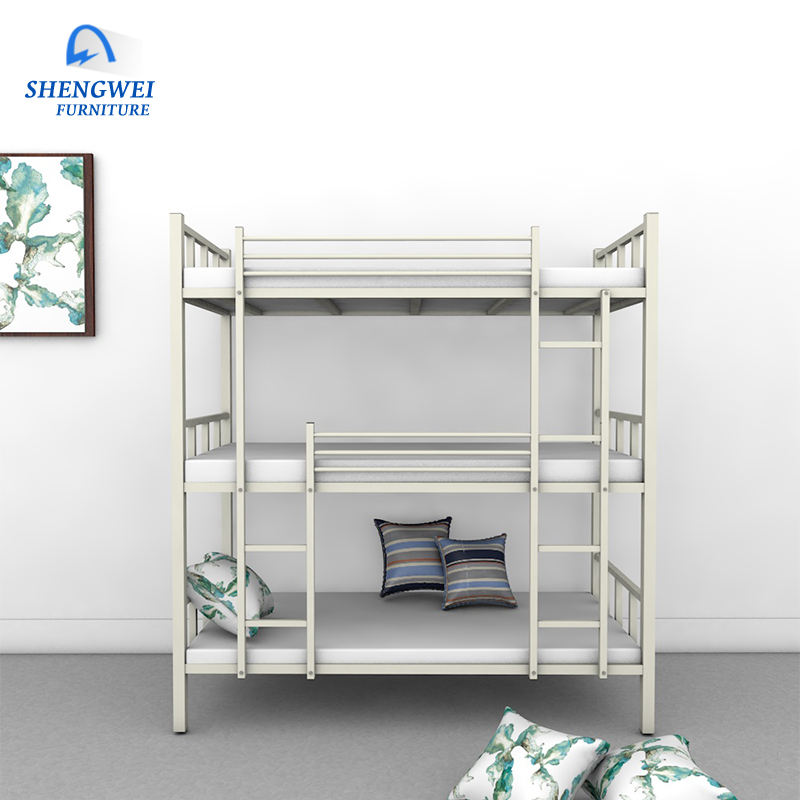 China manufacturer supply hotsale school high quality heavy duty 3 tier bunk bed steel bed